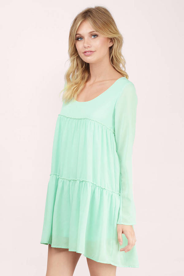 Cute Mint Shift Dress - Long Sleeve Dress - $11.00