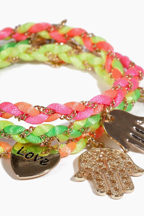 Braided Multi Charm Bracelet