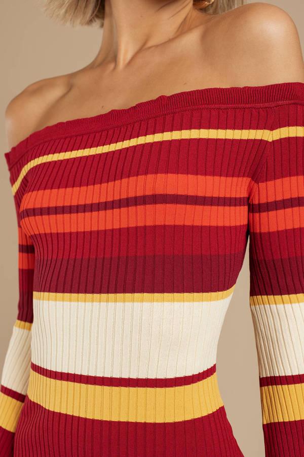 acf4c72b08e6 Red Somedays Lovin Dress - Striped Sweater Dress - Red Off Shoulder ...
