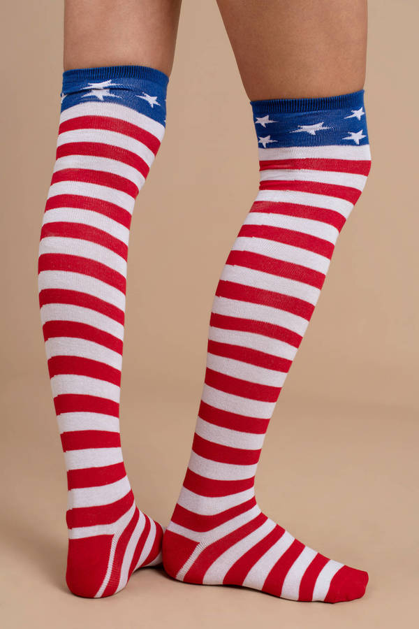 008381bb5f6 Multi Colored Socks - Knee High Socks - Multi Colored 4th Of July ...
