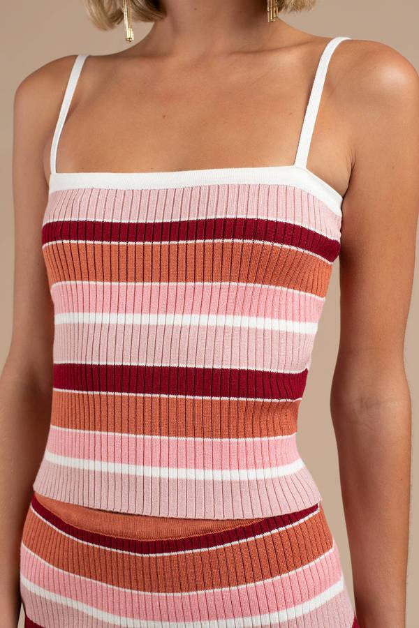 Pink Minkpink Crop Top Striped Crop Top Pink Knit Tank Top 68