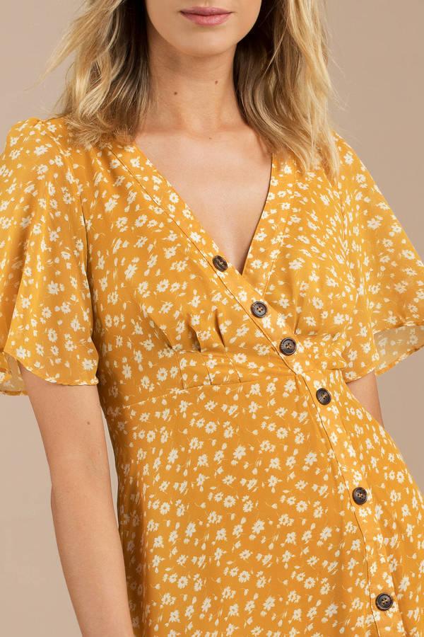 9c2041f276d7 Yellow Midi Dress - Maxi Dress For Cruise - Yellow Floral Midi Dress ...
