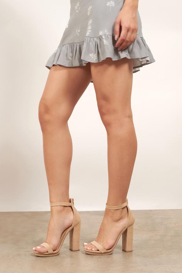 Penelope Natural Ankle Strap Heels - $66 | Tobi US