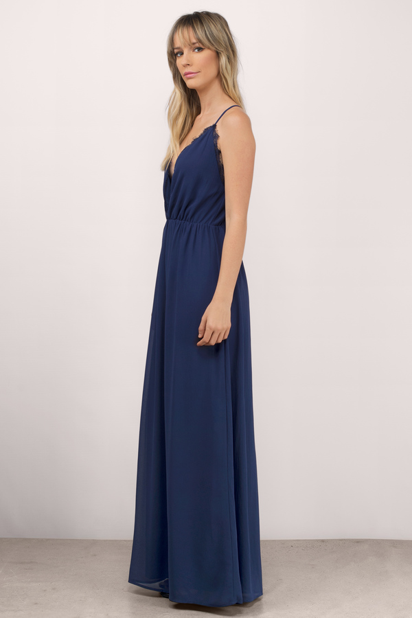 Sexy Blue Maxi Dress Lace Trim Dress Blue Deep V Dress 54