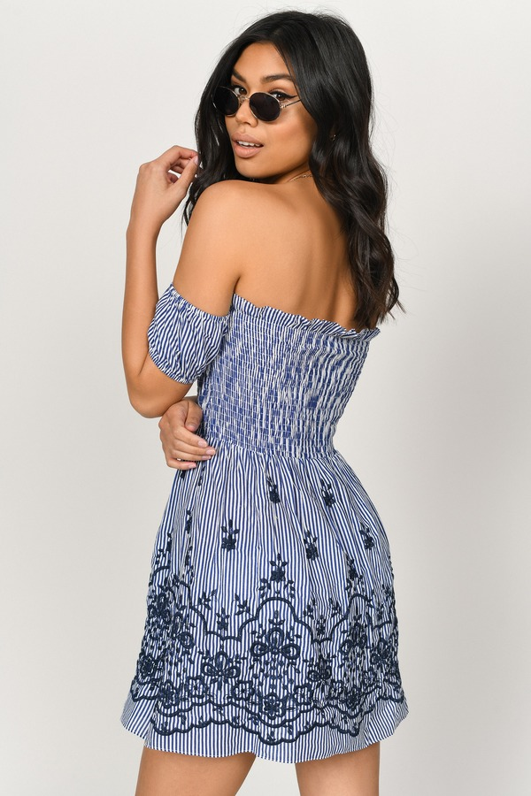 a2c733315ba25 ... Tobi Skater Dresses, Navy and White, Jaclyn Embroidered Skater Dress,  Tobi