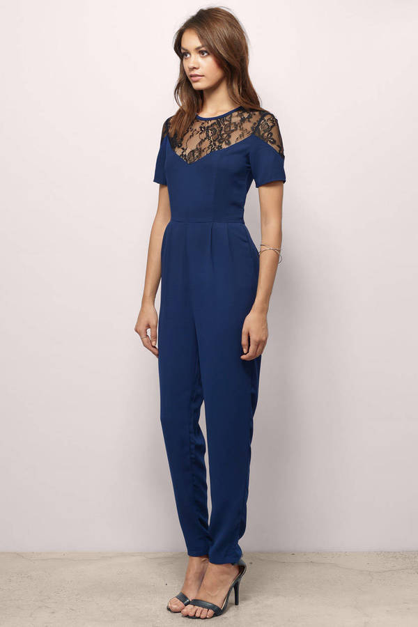 Blue Jumpsuit - Lace Jumpsuit - Short Sleeve Jumpsuit - Jumpsuit ...