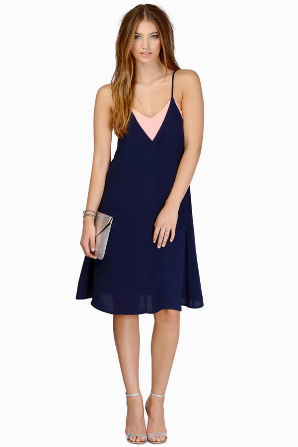 Navy Blush Skater Dress Spaghetti Strap Dress Skater Dress