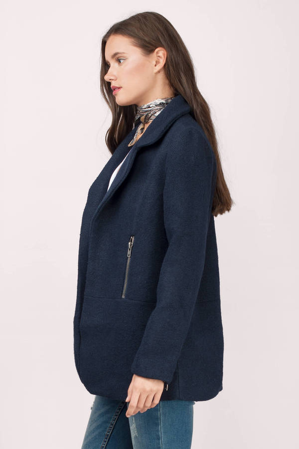 Navy Coat - Wool Coat - Pale Navy Coat - $28 | Tobi US
