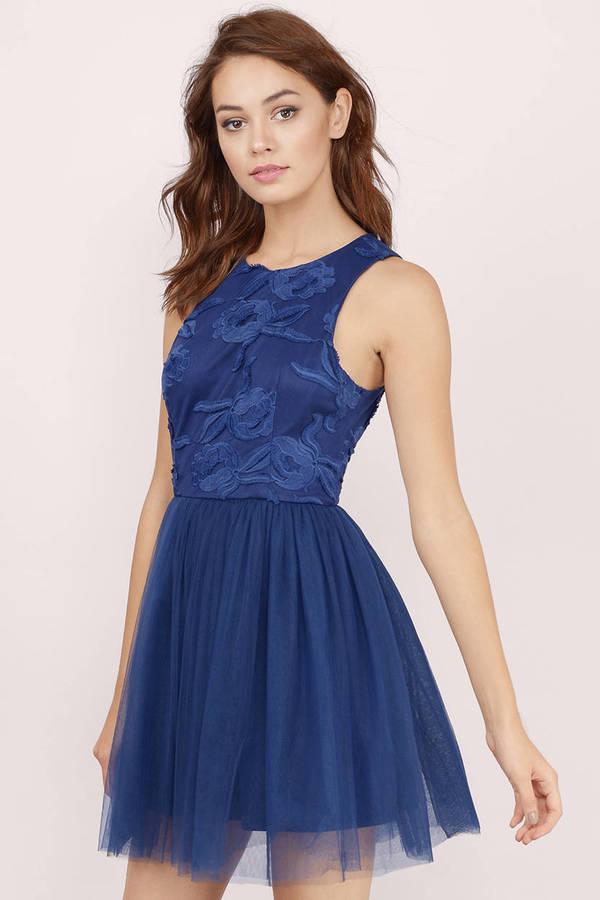 37aeb2c6213 Cute Navy Blue Skater Dress - Floral Lace Dress - Mesh Dress -  7 ...
