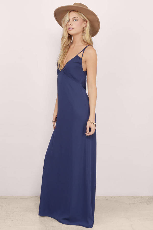 Trendy Navy Maxi Dress - Blue Dress - Strappy Dress - $17.00