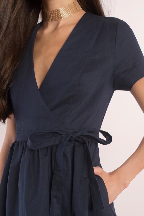 Sexy Navy Dress Wrap Dress Indigo Blue Dress Skater