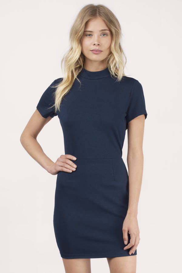 Cute Navy Bodycon Dress - Cut Out Dress - $28.00
