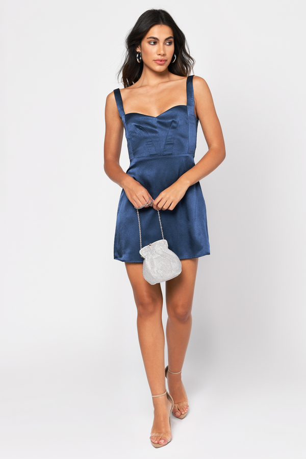 Blue Skater Dress - Satin Cocktail Dress - Blue Sweetheart Dress - $49    Tobi US