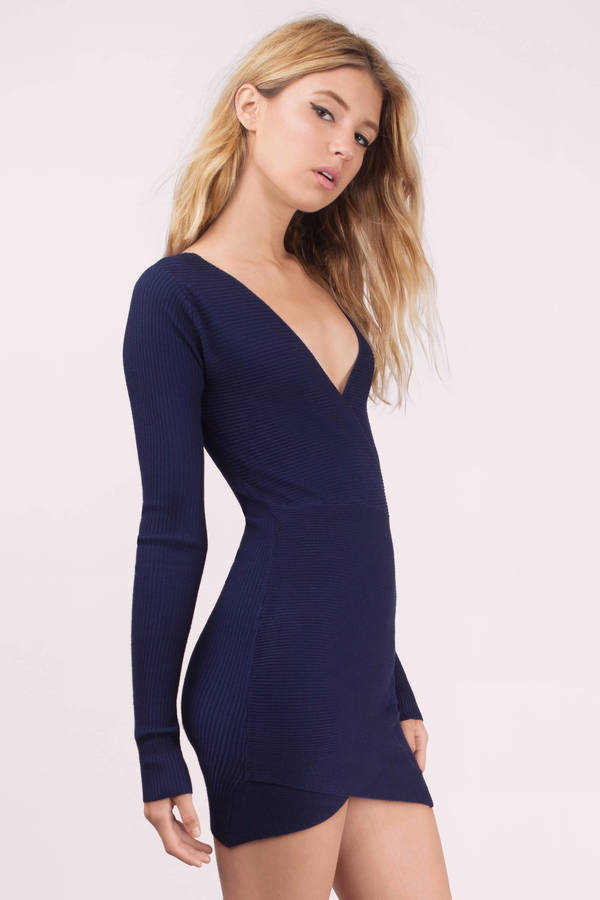cc6a0476802 Trendy Navy Bodycon Dress - Blue Dress - Wrap Dress - Bodycon Dress ...