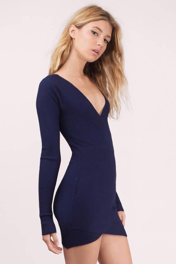 Trendy Navy Bodycon Dress - Blue Dress - Wrap Dress - $60.00
