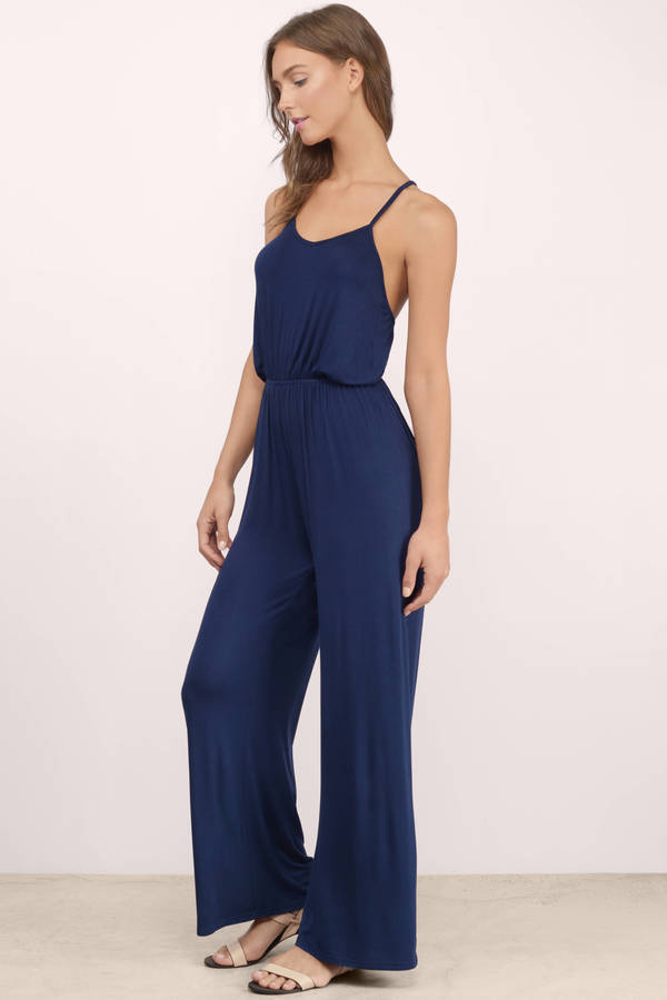 Trendy Navy Jumpsuit - Strappy Jumpsuit - Army Blue Jumpsuit - $11.00