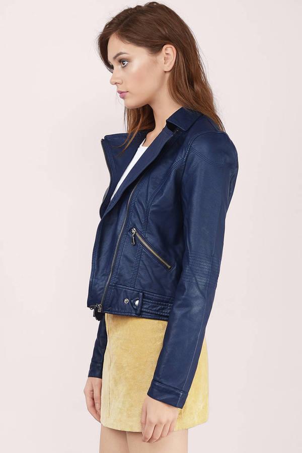 2eb269662aa Navy Jacket - Moto Jacket - Faux Leather Jacket - Blue Jacket - $18 ...