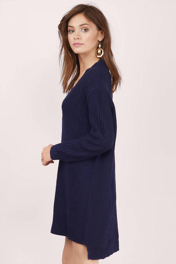 Cute Navy Day Dress - White Dress - Oversized Dress - Day Dress ...