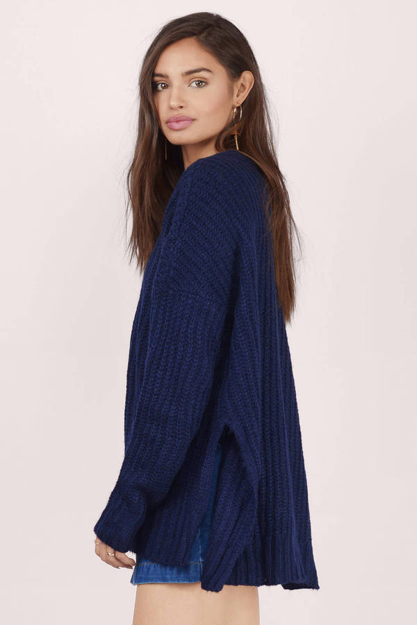 Navy Cardigan - Long Sleeve Cardigan - Navy Sweater - $16 | Tobi US