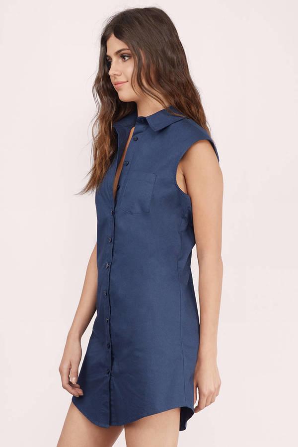 21c7b874781 Navy Shirt Dress - Sleeveless Dress - Long Dress Shirt - Day Dress ...