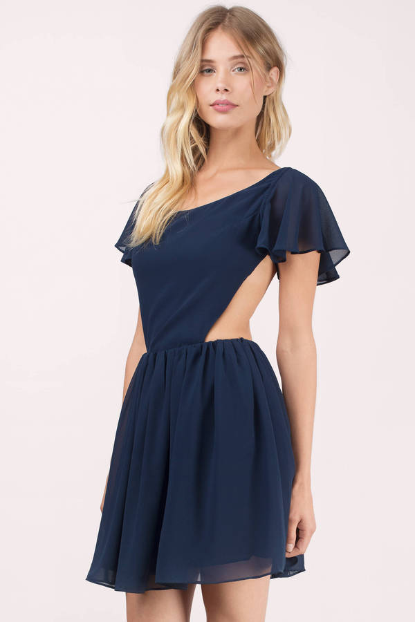 Navy Skater Dress Blue Dress Flare Dress Navy Short Sleeve