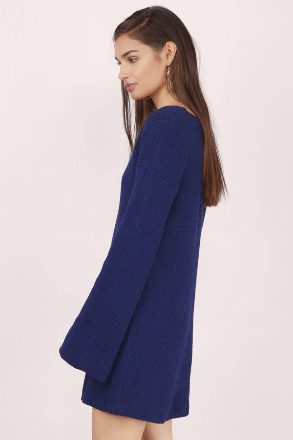 b90d4ddb949 Navy Day Dress - Blue Dress - Sweater Dress - Blue Knit Dresses ...