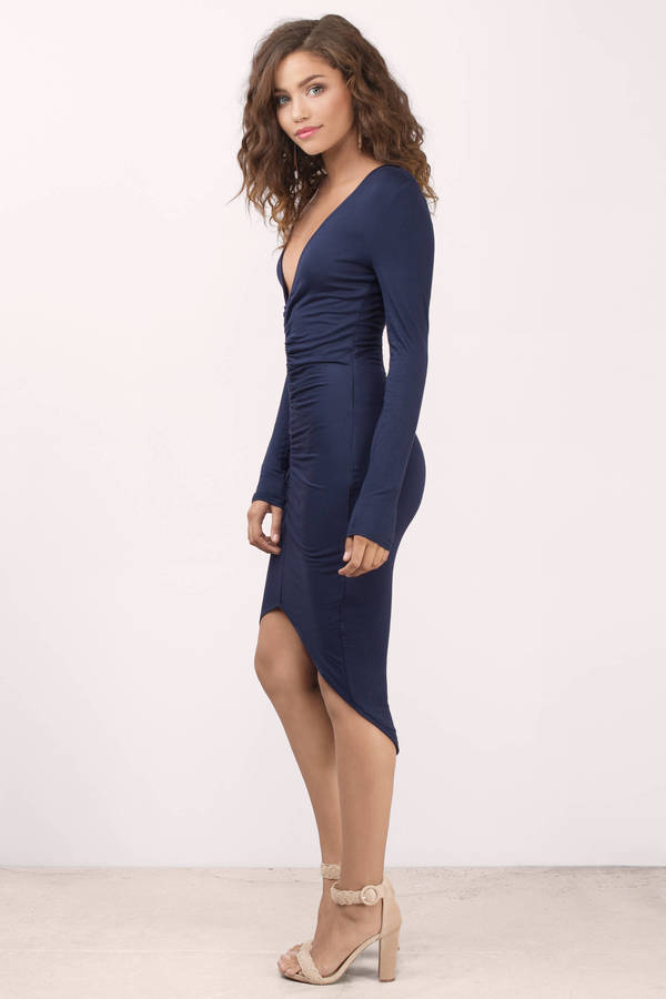 8cb6268f8e72 Sexy Navy Dress - Blue Dress - Elegant Navy Dress - Midi Dress ...