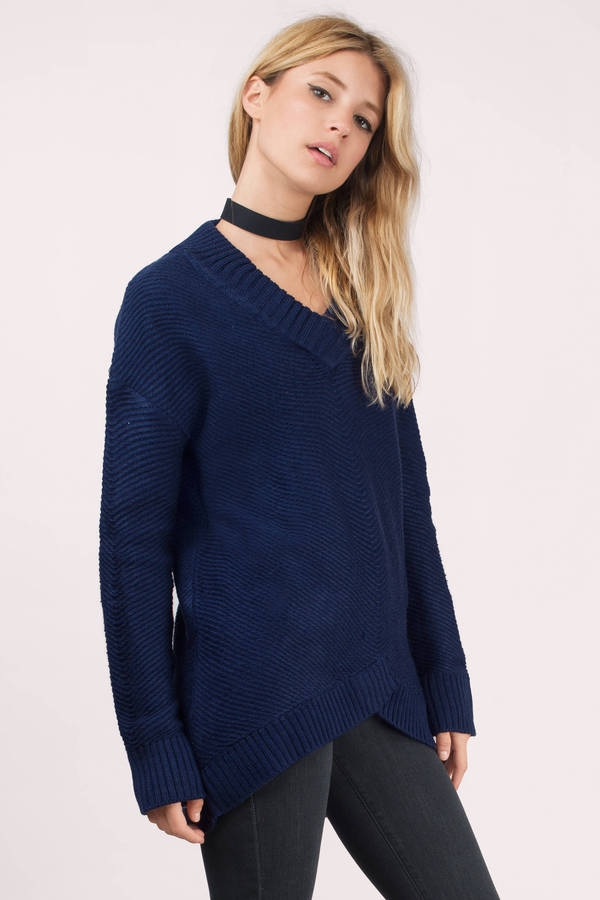 Navy Sweater - Knitted Sweater - Dark Navy Sweater - $19 | Tobi US
