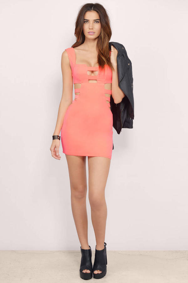 Cut In The Side Neon Coral Bodycon Dress - $12.00 | Tobi