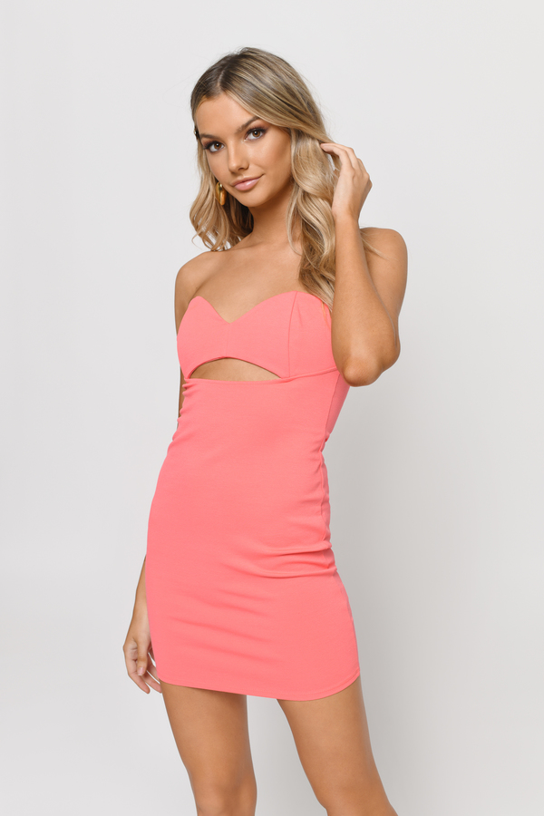 Cute Neon Coral Bodycon Dress - Cut Out Dress - $14.00