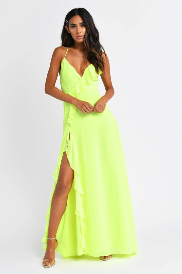 dfa0f00c6a ... Tobi Maxi Dresses, Neon Lime, Letting Loose For Tonight Maxi Dress, Tobi