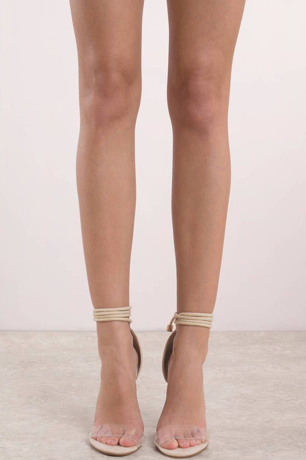 Nude Heels - Clear Lace Up Heels - Nude Bridal Shower -3557