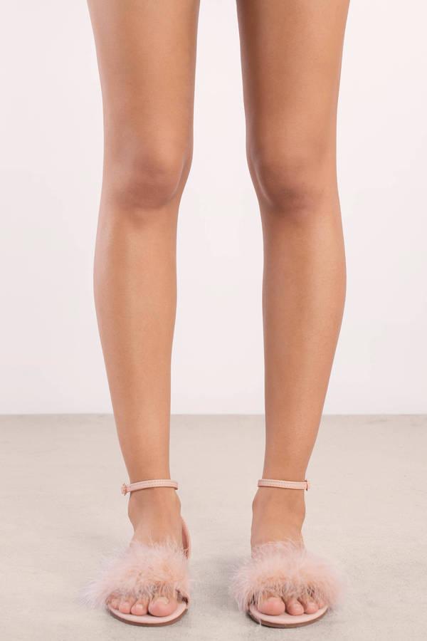 dbbe8eeff3e Amanda Nude Faux Feather Trim Sandals Amanda Nude Faux Feather Trim Sandals  ...