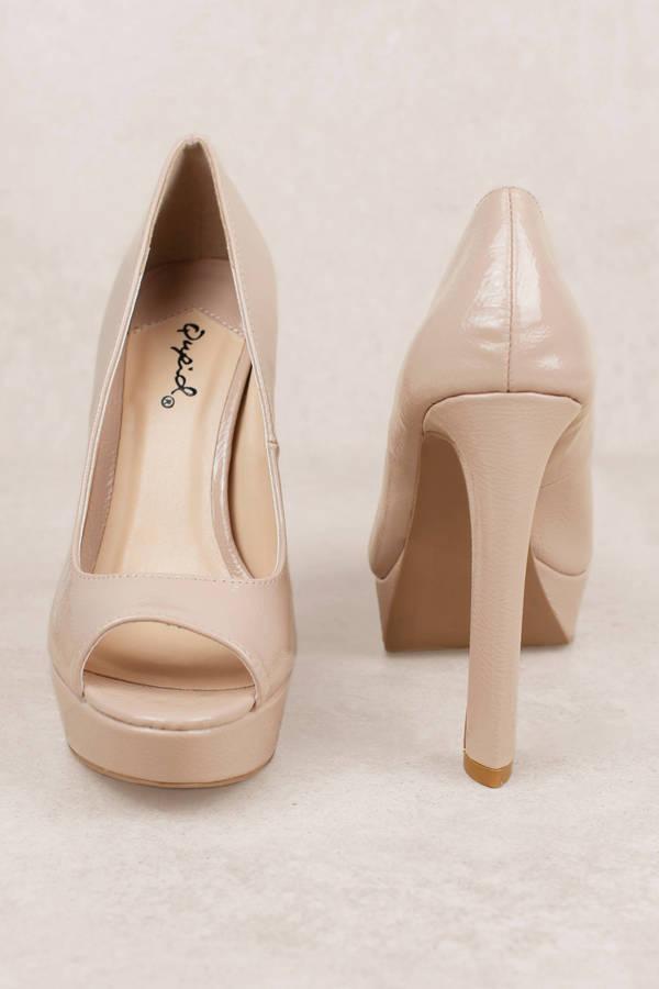 Bella Nude Patent Open Toe Heels - $21