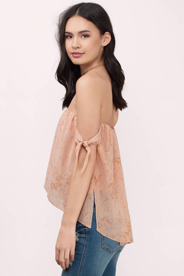 Nude Floral Shirt - Pink Shirt - Strapless Shirt - $138.00