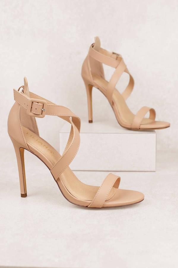 279c9db876b647 Nude Heels - Strappy Heels - Nude Open Toe Heels - Sandal Heels ...