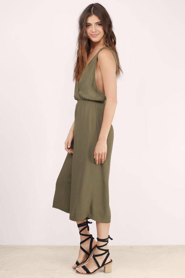 7c8fed4f0f4 Olive Jumpsuit - Plunging V Jumpsuit - Army Green Jumpsuit ...