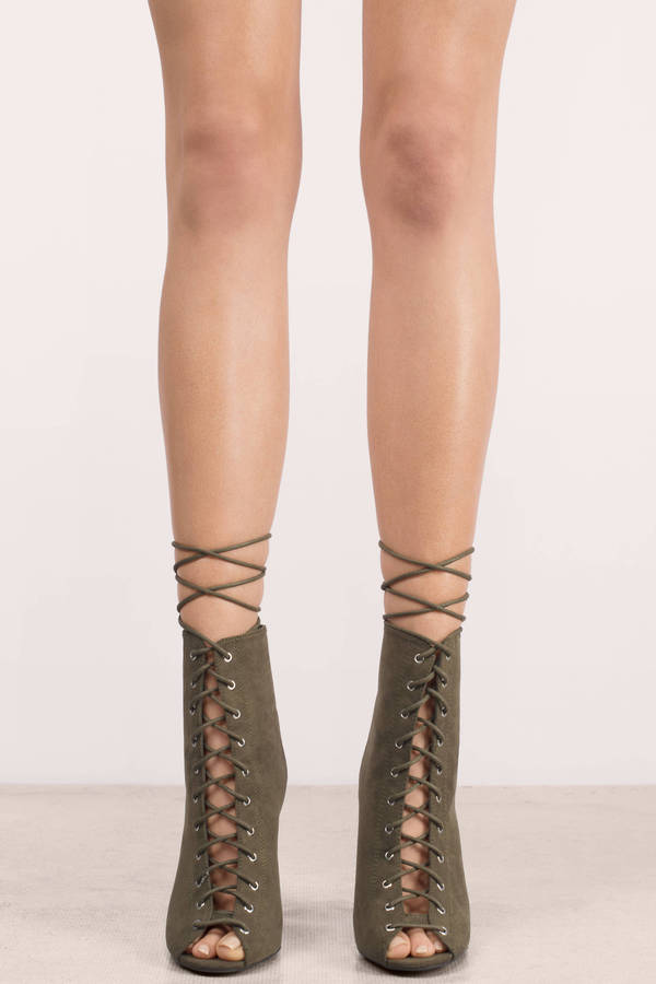 2552e34c0ff Olive Green Heels - Peep Toe Booties - Lace Up Heels - Going Out ...