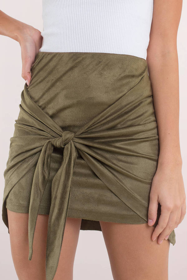 04c24e1f849d Green Skirt - Front Tie Skirt - Green Suede Skirt - Casual Skirt ...