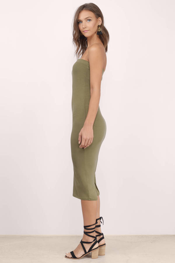 Olive Midi Dress - Green Dress - Strapless Dress - $34.00