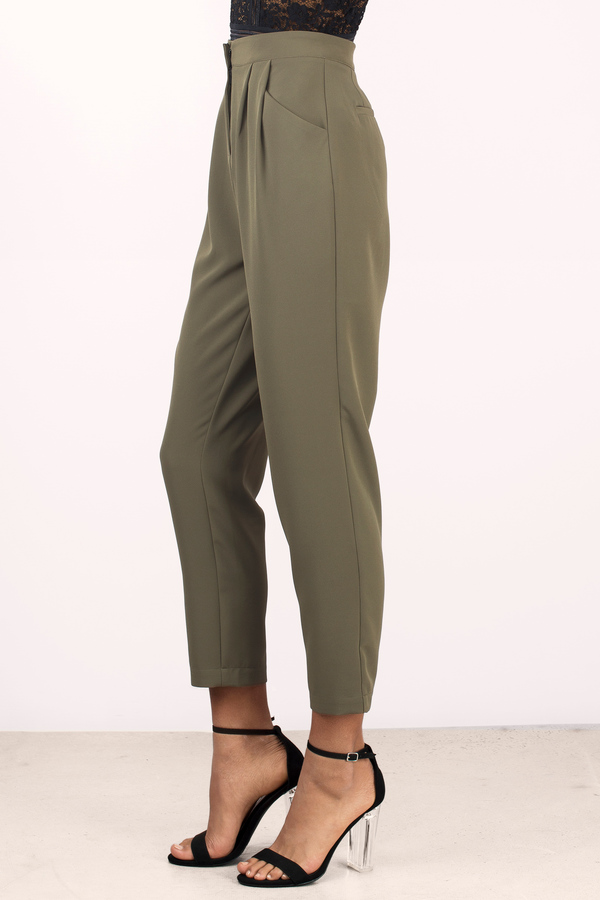 Olive Pants - Green Pants - High Waisted Pants - Army Green Pants ...
