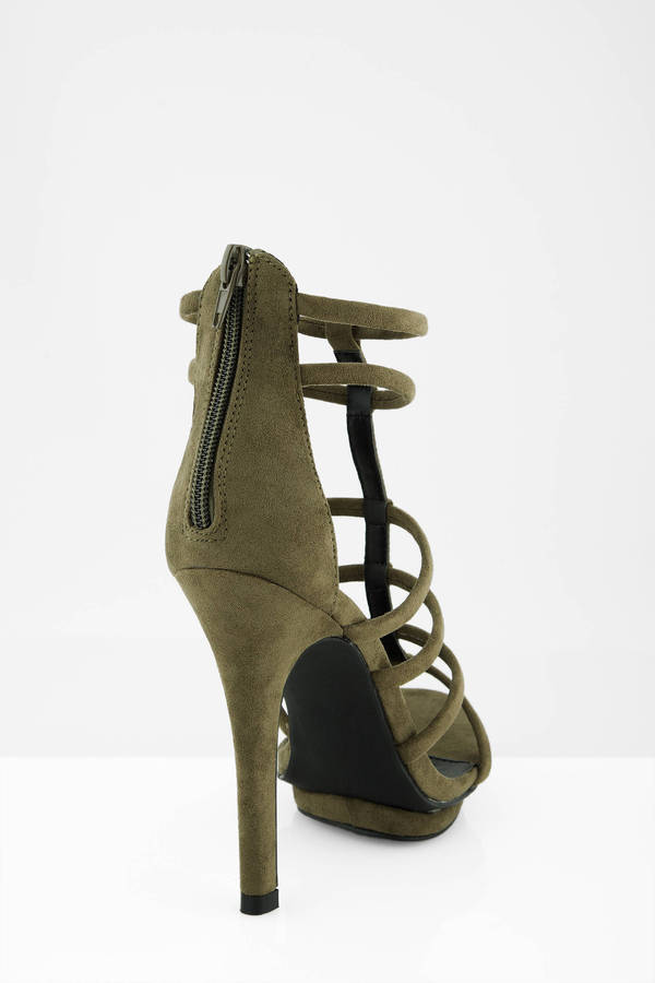 31abcd9bc5c Olive Heels - Green Heels - Multi Strap Heels - Army Green Heels ...