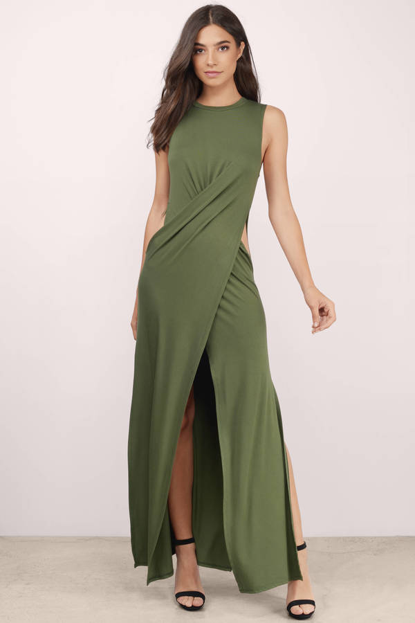 Chic Olive Dress Cut Out Dress Pewter Long Dress