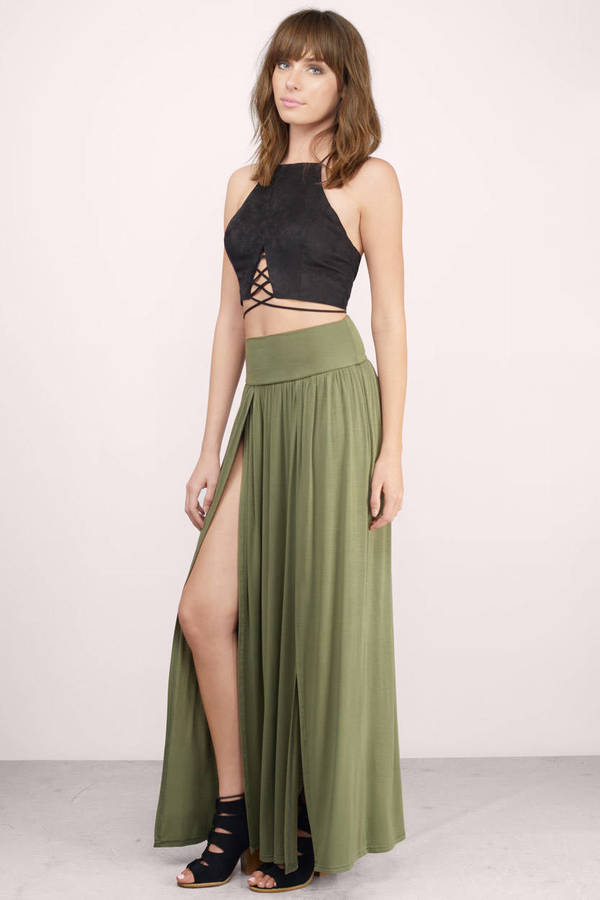 Sexy Olive Skirt - Green Skirt - Double Slit Skirt - $20.00