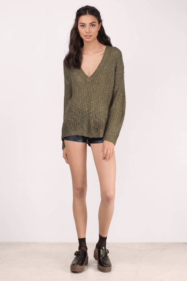 1be0cbbfc9f7 Olive Sweater - Green Sweater - V Neck Sweater - Army Green Sweater ...