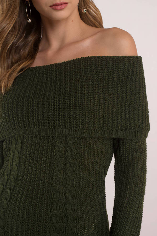 Natasha Olive Off Shoulder Sweater Dress - $58 | Tobi US