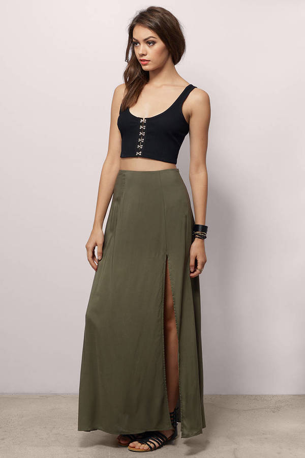 Trendy Olive Skirt - Thigh High Slit Skirt - $13.00