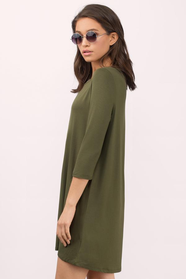 Olive Shirt Dress - Long Sleeve Dress - Long Dress Shirt - Day Dress ... f52ce77e9
