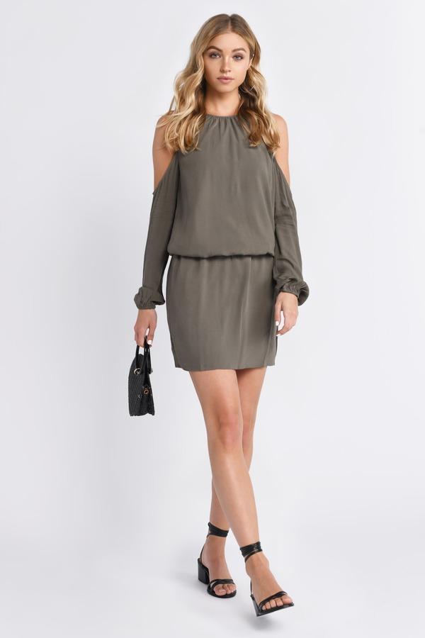 de18a13bbbccb Trendy Olive Day Dress - Cold Shoulder Dress - Day Dress -  15