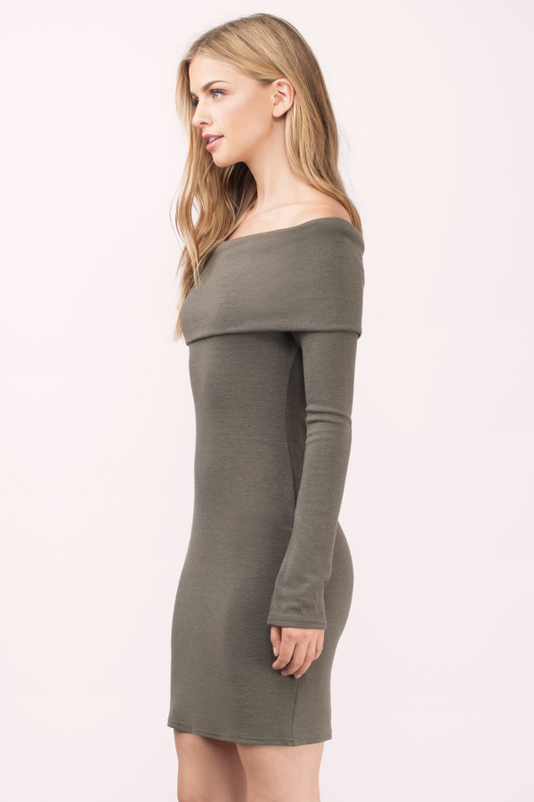 Olive Green Bodycon Dress - Off The Shoulder Dress - Sweater Knit ... ff2844a8a679